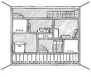 Scaffale dell'ufficio isolato su un fondo bianco Illustrazione di vettore in uno stile di schizzo Immagine Stock