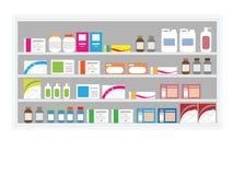 Scaffale della droga della farmacia royalty illustrazione gratis