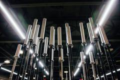 Scaffale delle teste di legno verticali cromate sull'interno delle FO del fondo della parete di PEGBOARD di grande palestra del s Fotografie Stock Libere da Diritti