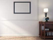 Scaffale di legno con i libri e la lampada illustrazione 3D Fotografia Stock