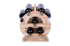 Scaffale di legno del vino isolato su bianco Fotografie Stock Libere da Diritti