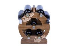 Scaffale di legno del vino isolato su bianco Immagine Stock Libera da Diritti