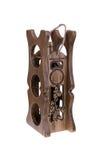 Scaffale di legno del vino isolato su fondo bianco Fotografia Stock Libera da Diritti