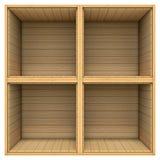 Scaffale di legno isolato su fondo bianco illustrazione vettoriale