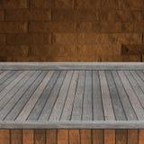 Scaffale di legno per fondo Fondo per il concetto dell'esposizione del prodotto Fotografie Stock Libere da Diritti
