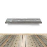 Scaffale di legno per fondo Fondo per il concetto dell'esposizione del prodotto Immagini Stock Libere da Diritti