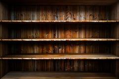 Scaffale di legno vuoto Fotografia Stock Libera da Diritti