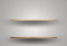 Scaffale di legno vuoto sulla parete fotografie stock libere da diritti