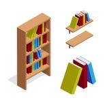 Scaffale e scaffale per libri isometrici con l'illustrazione di libri Fotografie Stock Libere da Diritti