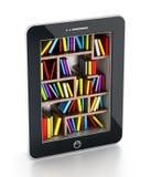 Scaffale per libri in computer della compressa Fotografie Stock Libere da Diritti