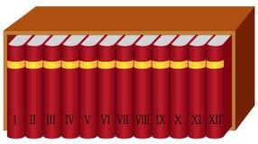 Scaffale per libri con i libri Fotografia Stock
