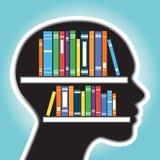 Scaffale per libri con il concetto della testa umana Illustrazione di Stock