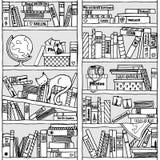 Scaffale per libri con la letteratura di viaggio (modello senza cuciture) Immagini Stock Libere da Diritti