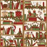 Scaffale per libri di Natale (modello senza cuciture) Fotografia Stock Libera da Diritti
