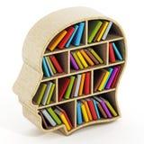 Scaffale per libri a forma di della testa dell'interno dei libri Immagini Stock