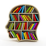 Scaffale per libri a forma di della testa dell'interno dei libri Fotografie Stock