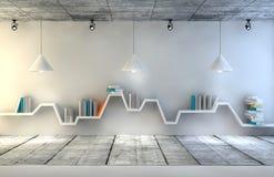 Scaffale per libri minimalista sopra fondo concreto drammatico, interior design moderno royalty illustrazione gratis