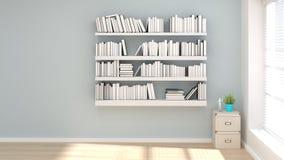 Scaffale per libri nella sala di lettura pulita dell'illustrazione vuota della stanza 3d con illustrazione vettoriale