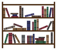 Scaffale per libri occupato con i libri Immagine Stock Libera da Diritti