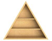 Scaffale vuoto del truciolato del triangolo isolato su fondo bianco immagine stock