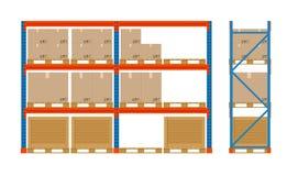 Scaffali del magazzino con le scatole Icona dell'attrezzatura di stoccaggio Vista laterale Vettore isolato su bianco Insieme dell Fotografie Stock Libere da Diritti