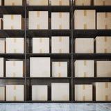 Scaffali del magazzino con le scatole rappresentazione 3d Fotografie Stock Libere da Diritti