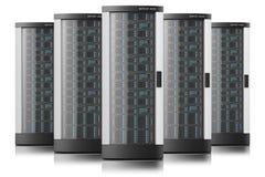 Scaffali del server nella fila Immagini Stock