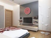 Scaffali della TV e un armadietto sotto la TV nella camera da letto Fotografia Stock Libera da Diritti