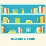 Scaffali dello scaffale con i libri e le immagini Segno di zona della lettura Vettore ENV 10 Fotografie Stock Libere da Diritti