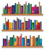 Scaffali di legno con i libri illustrazione di stock