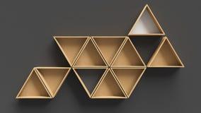 Scaffali di legno del triangolo vuoto immagine stock