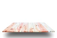 Scaffali di legno della plancia e fondo bianco fotografia stock