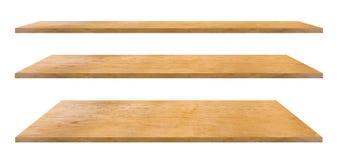 Scaffali di legno isolati su bianco fotografia stock