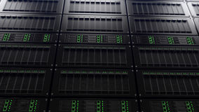 Scaffali moderni del server, fuoco basso Concetto di ricerca rappresentazione 3d Fotografie Stock