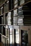 Scaffali per libri accatastati con i libri verticali Immagini Stock Libere da Diritti