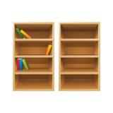 Scaffali per libri di legno di vettore Immagini Stock