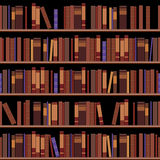 Scaffali senza cuciture delle biblioteche con i vecchi libri illustrazione vettoriale