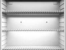 Scaffali vuoti in frigorifero immagine stock