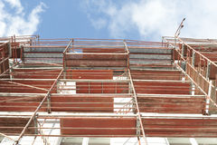 A scaffold. On the streetside of a building Royalty Free Stock Images