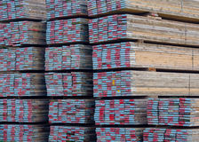Scaffold boards. Stack of wooden scaffold boards Stock Images
