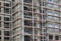 Scaffold on building facade - construction site Royalty Free Stock Image