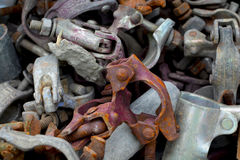 Scaffold clamps. A pile of scaffold clamps Royalty Free Stock Photos