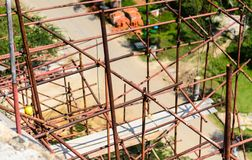 Scaffold at construction site. Element of bigining construction,scaffold royalty free stock photos