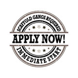Scaffold Gangs Required  - grunge printable label / stamp Stock Image
