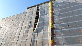 Scaffold installation during house renovation