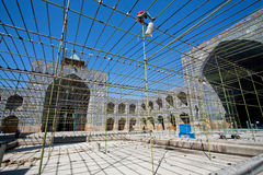 Scaffold during repair work inside the yard of Imam Mosque Stock Photography