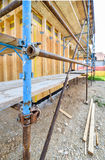 Scaffold on a residential hard wood passive house Royalty Free Stock Image