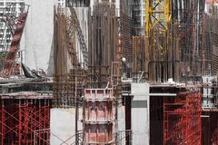 Scaffold and Steel Building Construction Site Architecture Industry royalty free stock photo