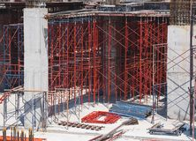 Scaffold and Steel Building Construction Site Architecture Industry stock images