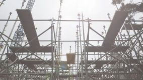Scaffold structure from below. Sun light Stock Photography